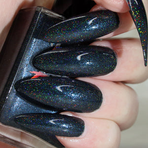 Bad Boy - blackened blue super holographic nail polish vegan