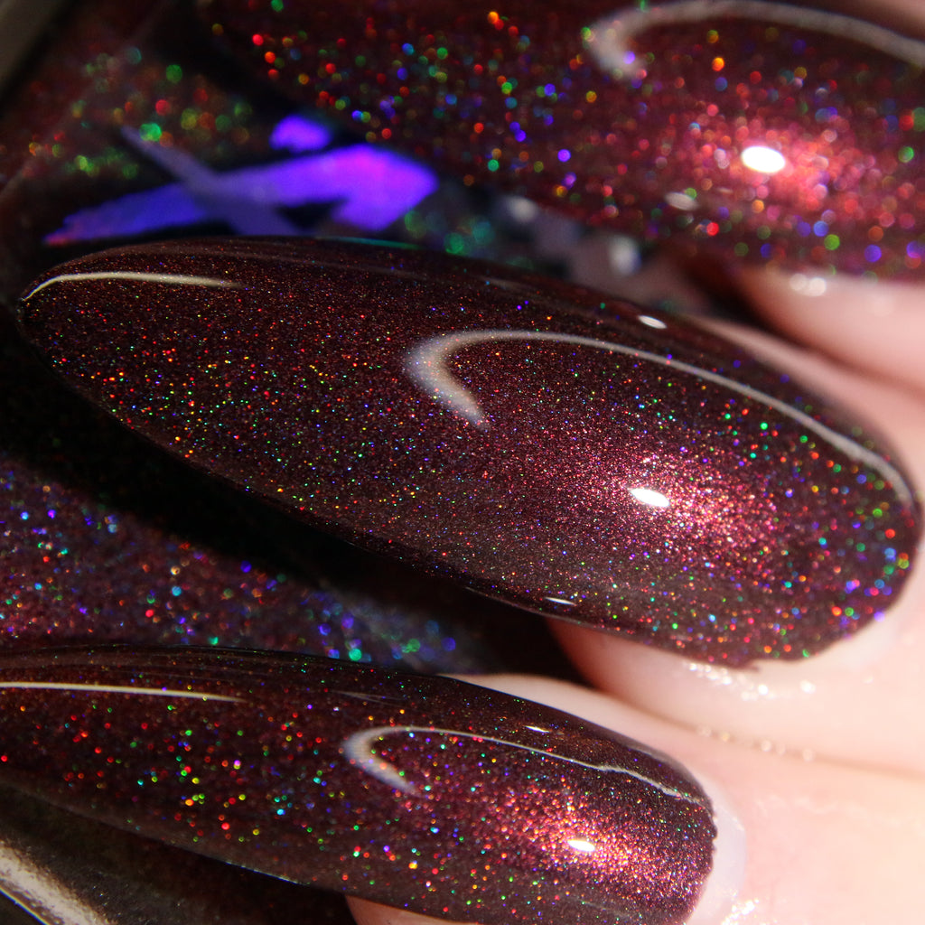 Bad Romance - dark red wine with red flash super holographic nail polish vegan