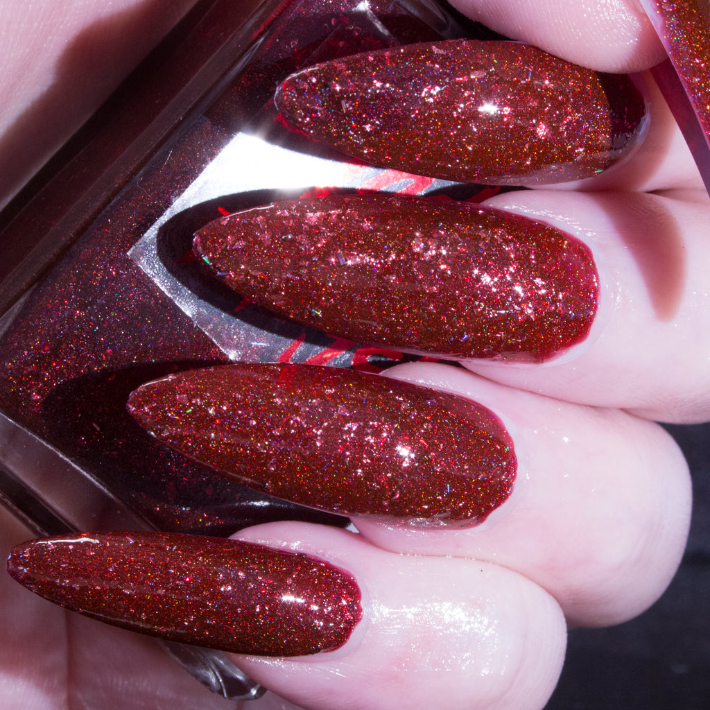 BloodyMary - rich blood red w/ red flakes textured superholo nail polish vegan