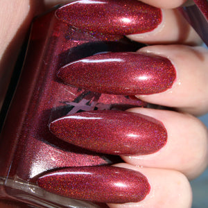Camp Redwood - muted red super holographic nail polish vegan