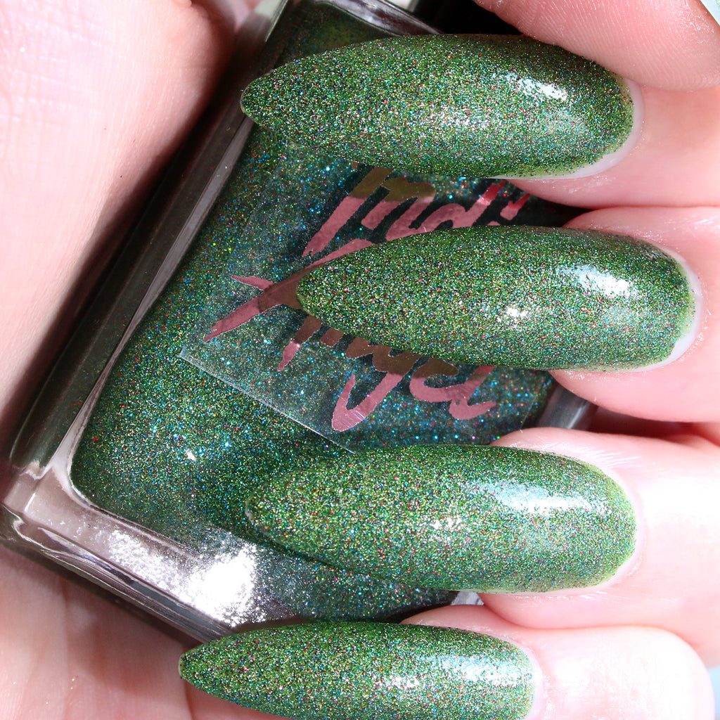Cowabunga - jelly green glitter nail polish vegan