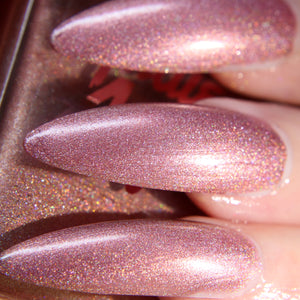 Crystal Lake - warm baby pink super holographic nail polish vegan