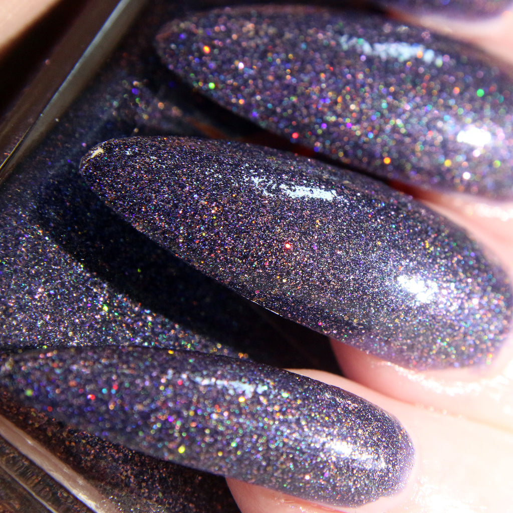 Darling - deep blue purple w/ gold glitter nail polish vegan