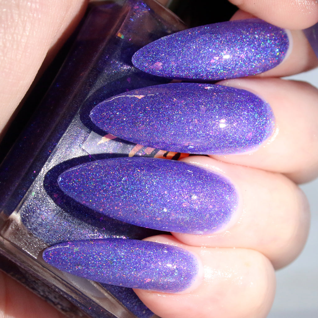 DropKick - bright purple w/ flakie glitter superholographic nail polish vegan