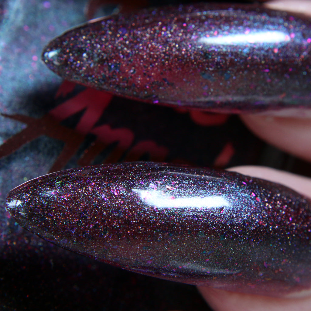 Frankenstein - dark berry holo w/ flakie glitter and duo-chrome shine nail polish vegan