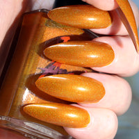 Fright Night - warm golden yellow super holographic nail polish vegan