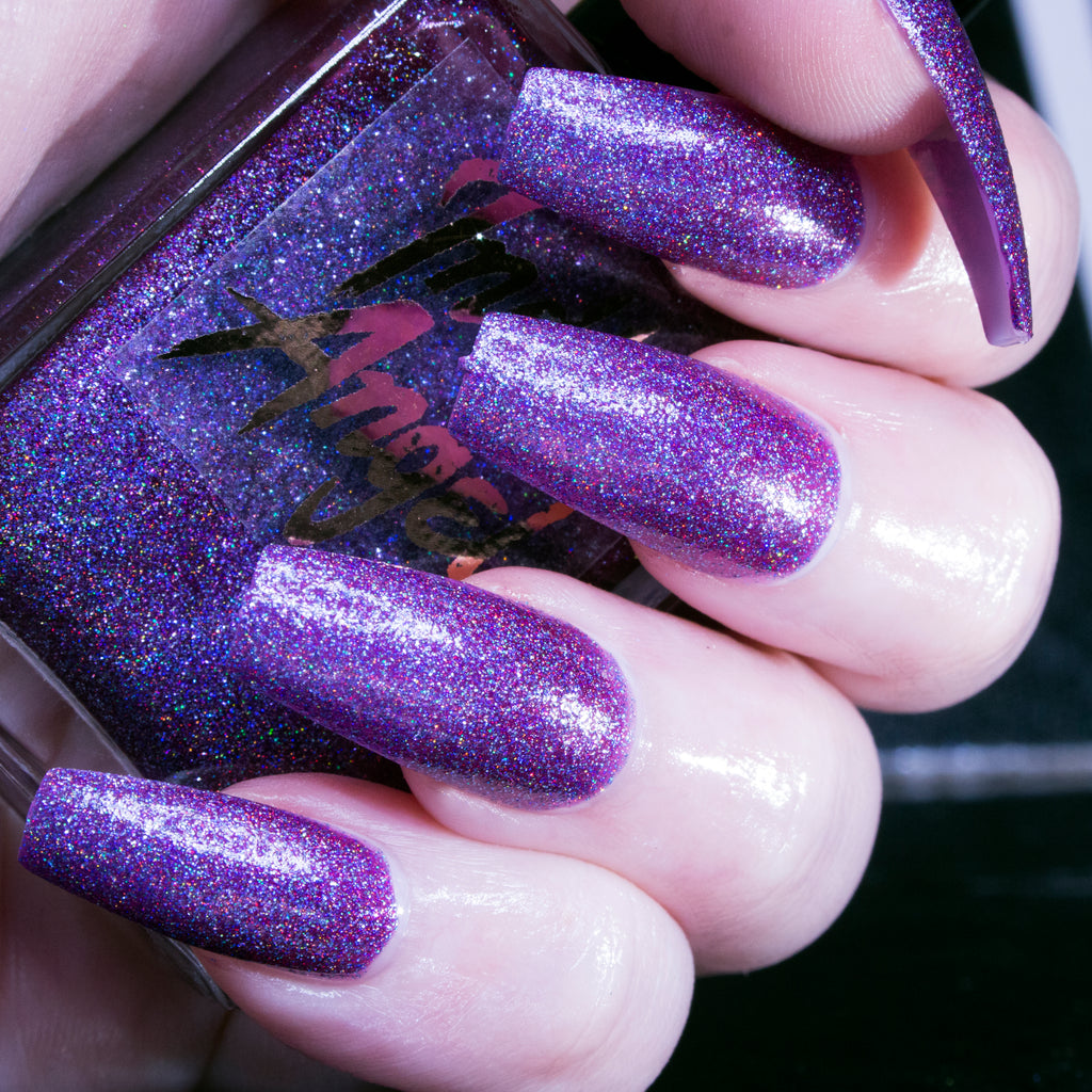 H8 U - rich blueish purple glitter superholo nail polish vegan