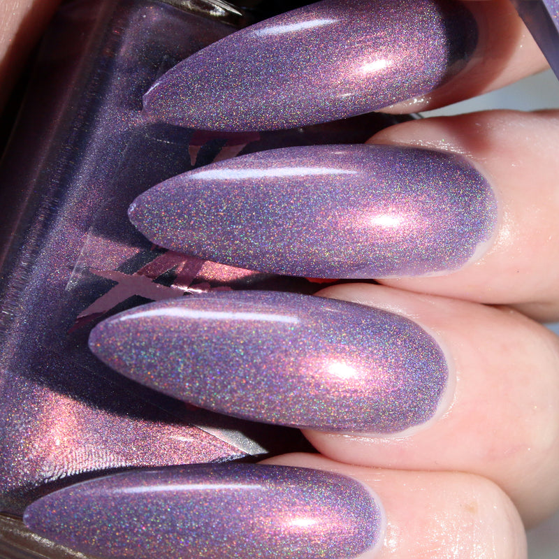 Hocus Pocus - lilac purple with pink shine super holographic nail polish vegan