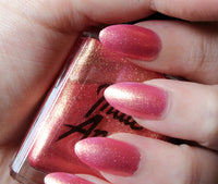 Pink Sunset - Pinky Gold Glitter Nail Polish