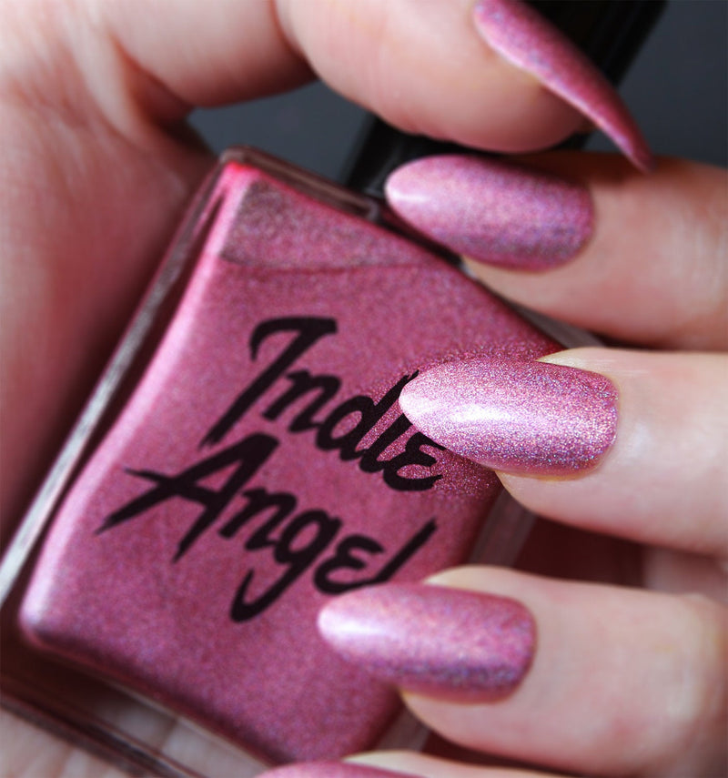 Tata - breast cancer awareness pink holographic nail polish