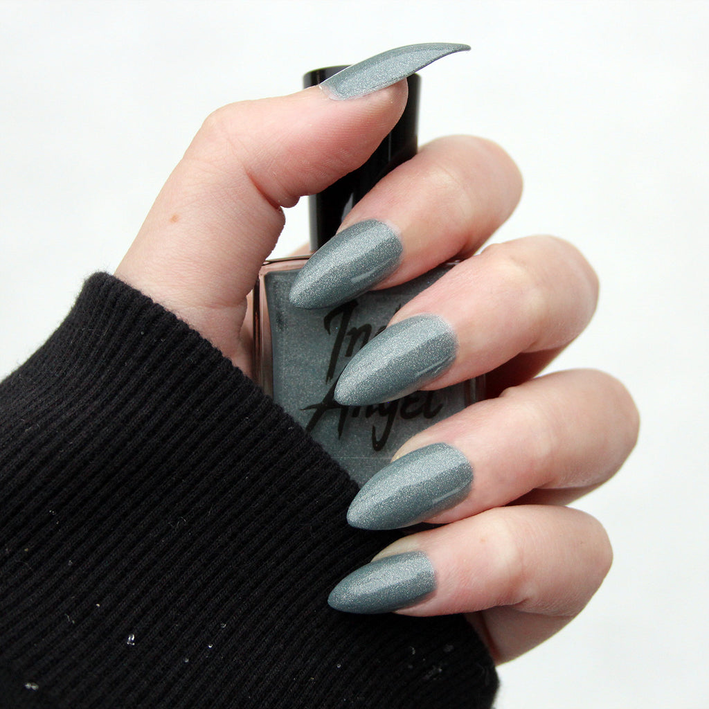Snowstorm - dusty blue gray shimmer nail polish vegan