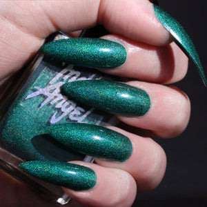 Elixir - rich teal green holographic nail polish vegan