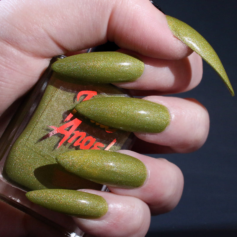 Swamp Queen - bright yellowed green shimmer nail polish vegan