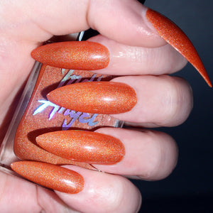 Myrtle - pumpkin orange shimmer nail polish vegan