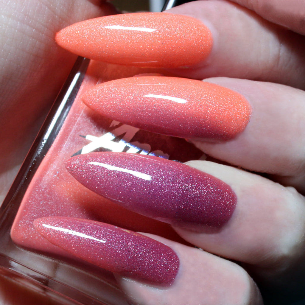 Peachy Peggy - triple peach pink purple solar nail polish vegan