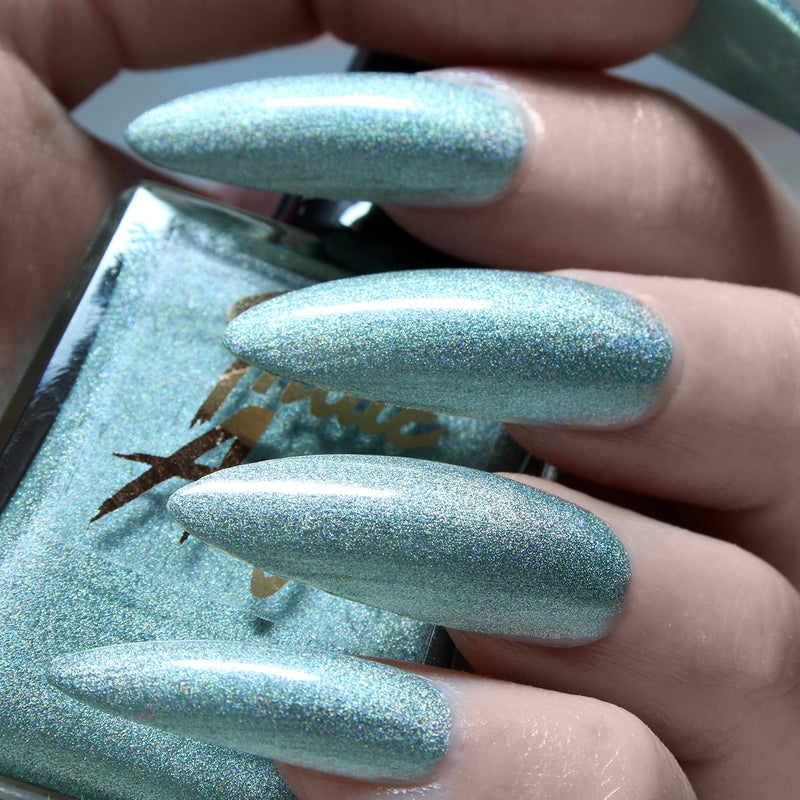 Cure - pastel teal holographic nail polish vegan