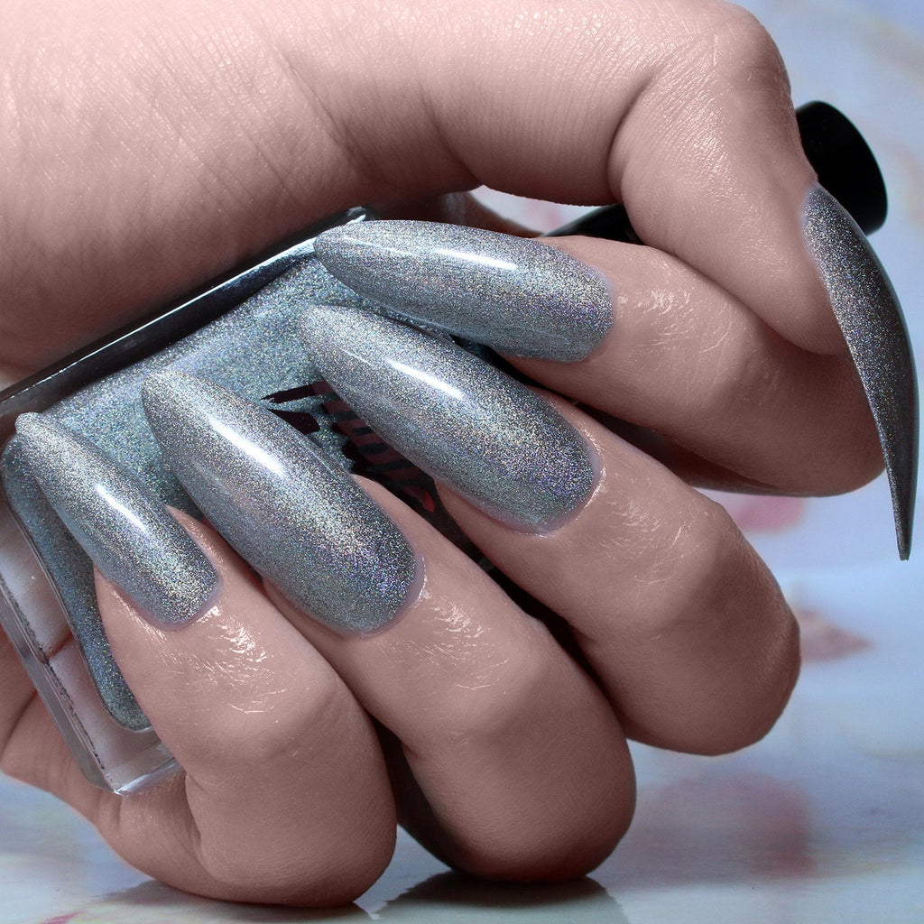 Immortal - silver metallic holographic nail polish vegan