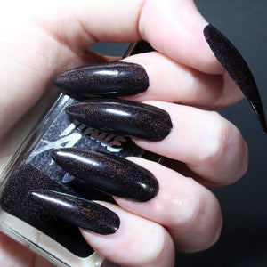 Brood - dark eggplant purple shimmer nail polish vegan