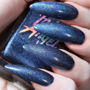 Oath - denim blue shimmer nail polish vegan