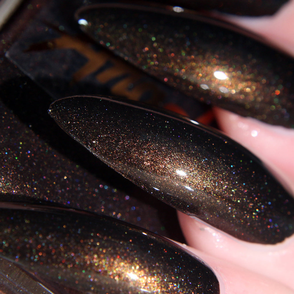Opium - black w/ gold shine shimmer nail polish vegan
