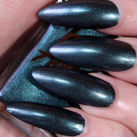Cyanide - dark blue shimmer with blue and purple shift vegan nail polish