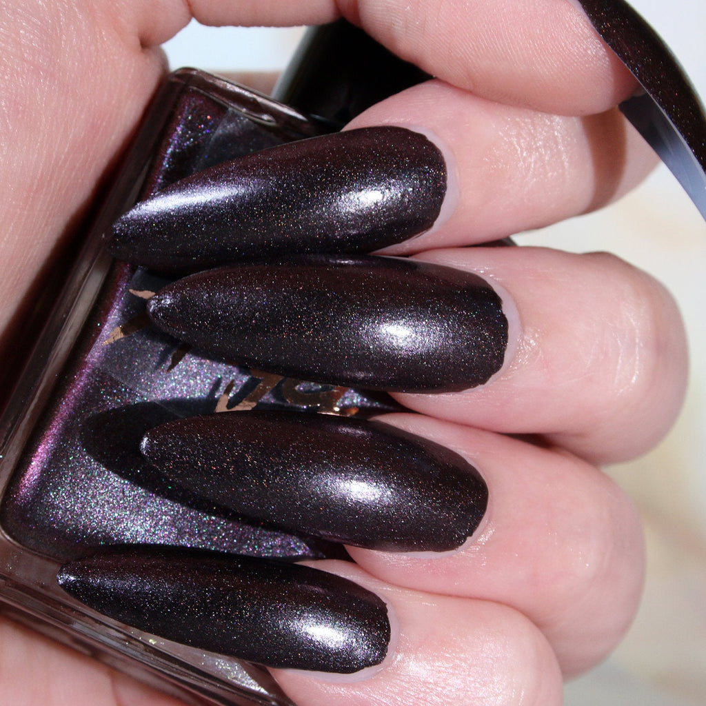 Demon - blackened burgundy shimmer with teal and lilac shift nail polish vegan