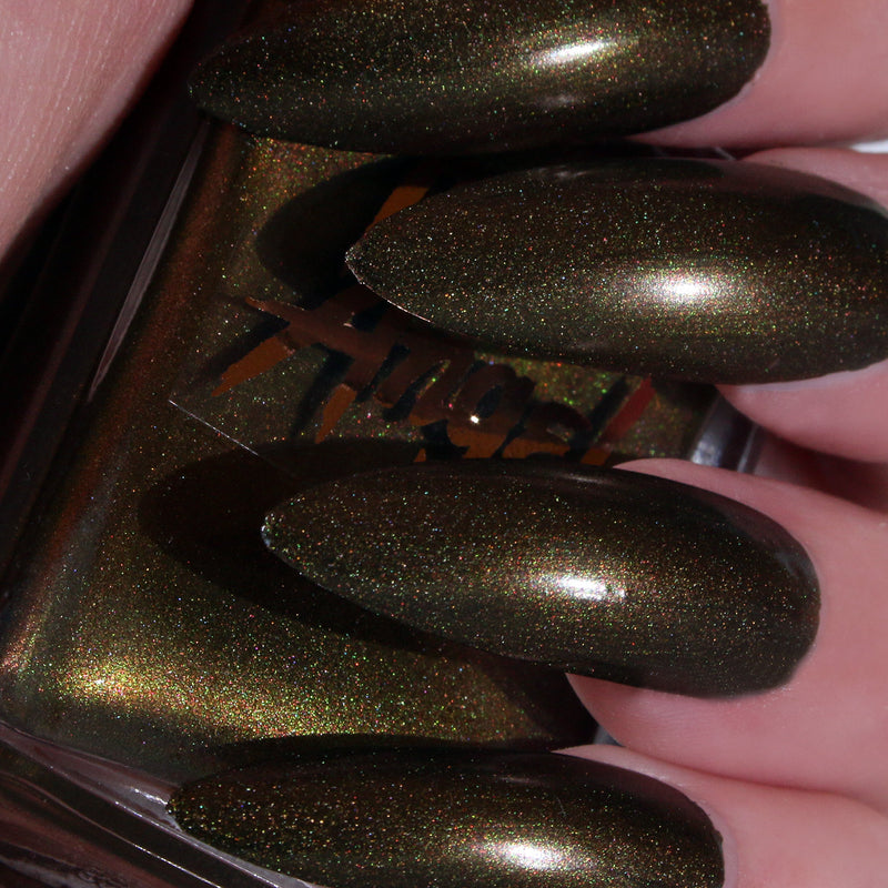 Greed - antiqued green gold shimmer nail polish vegan
