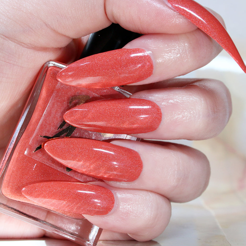 Summer of Luv - neon coral shimmer nail polish vegan