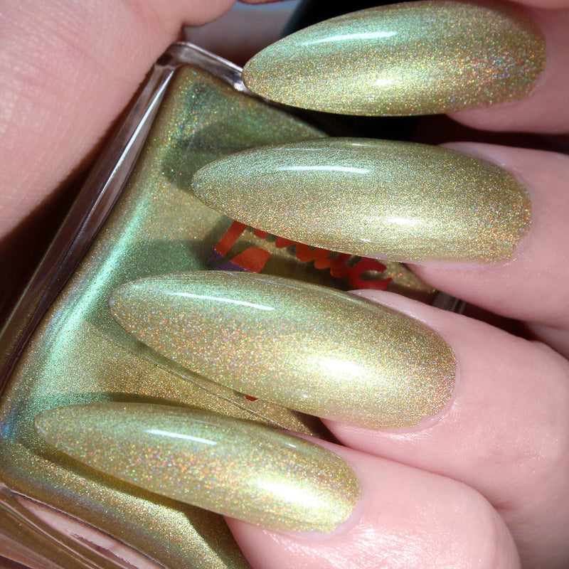 Hustle & Glow - light yellow green duochrome holographic nail polish vegan
