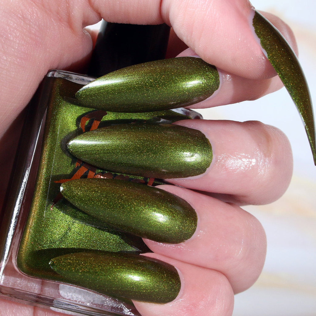 Vortex - dark green with a brown shift shimmer nail polish vegan