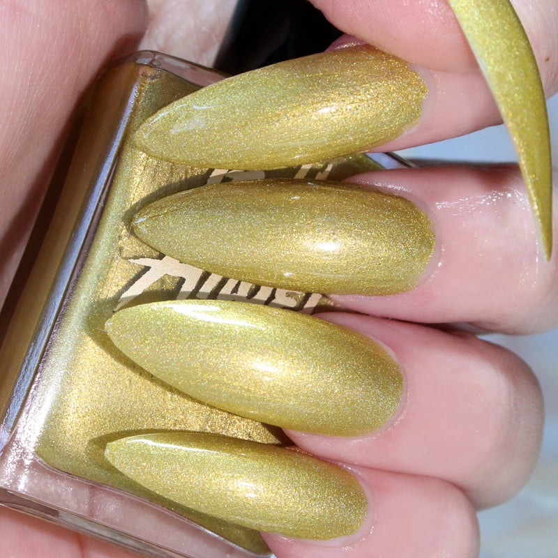 DimeBag - pastel yellow green shimmer nail polish vegan