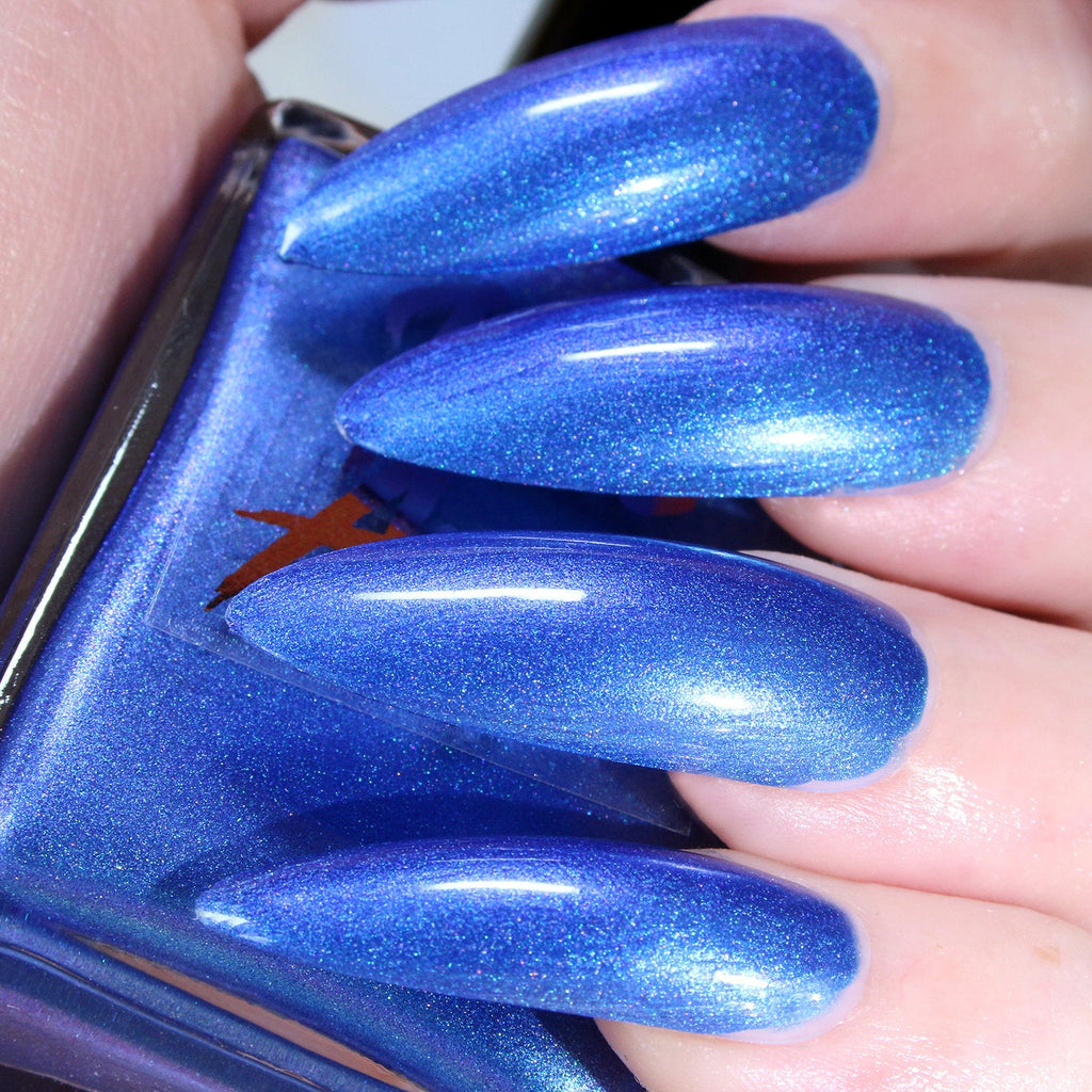 Queen - bright blue to purple shift shimmer nail polish vegan