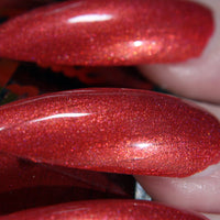 Cherry Bomb - cherry red shimmer nail polish vegan