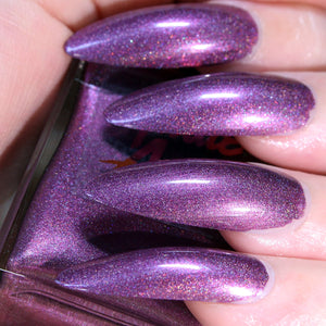 Riot Gurl - deep muted purple shimmer nail polish vegan