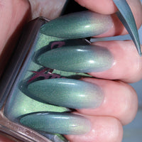 High Priest - tri thermal nude to blue to dark teal nail polish vegan