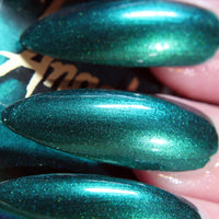 Lit - teal green with blue shine shimmer nail polish vegan