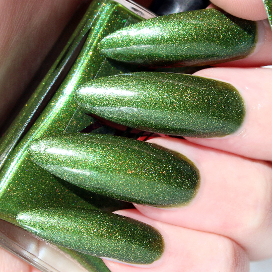 Cyprus - bright green gold glitter duo-chrome shimmer nail polish vegan