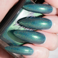 LadyBoy - deep teal blue with green flash superholo polish vegan