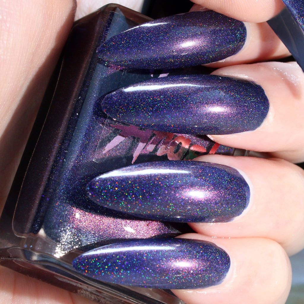 Lost Boy - dark blue with pink shine super holographic nail polish vegan