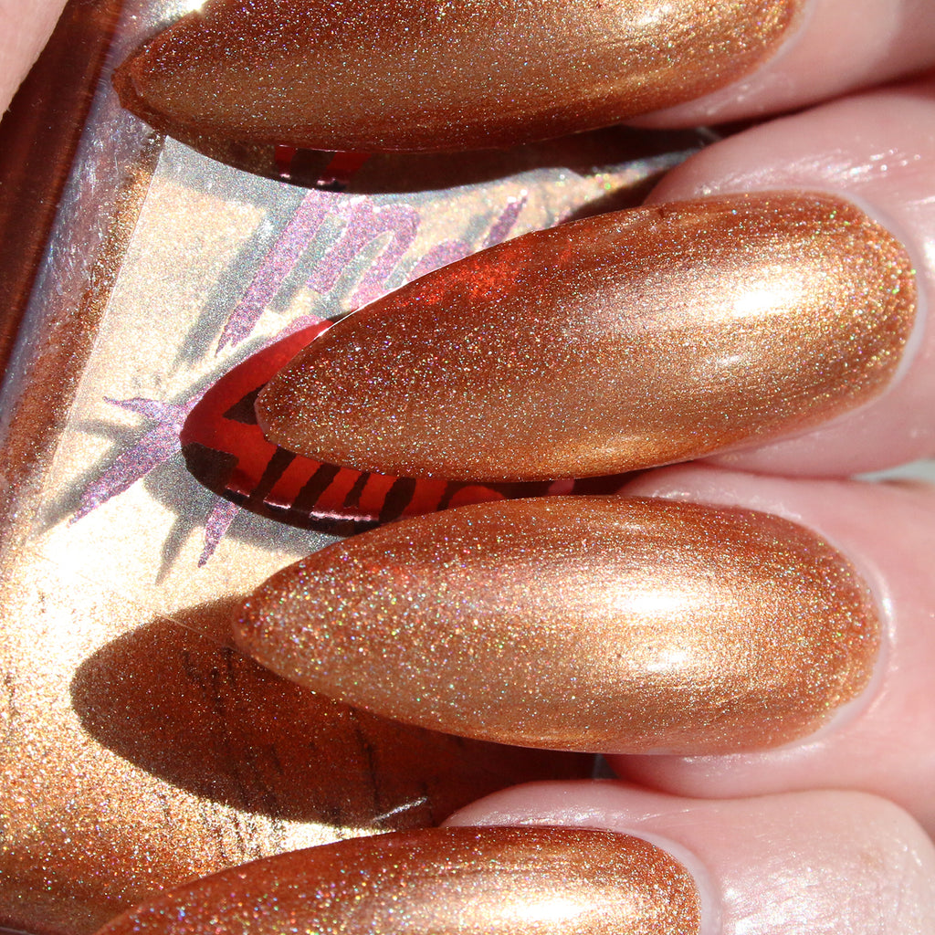 Maple Pecan - dirty gold holographic nail polish vegan