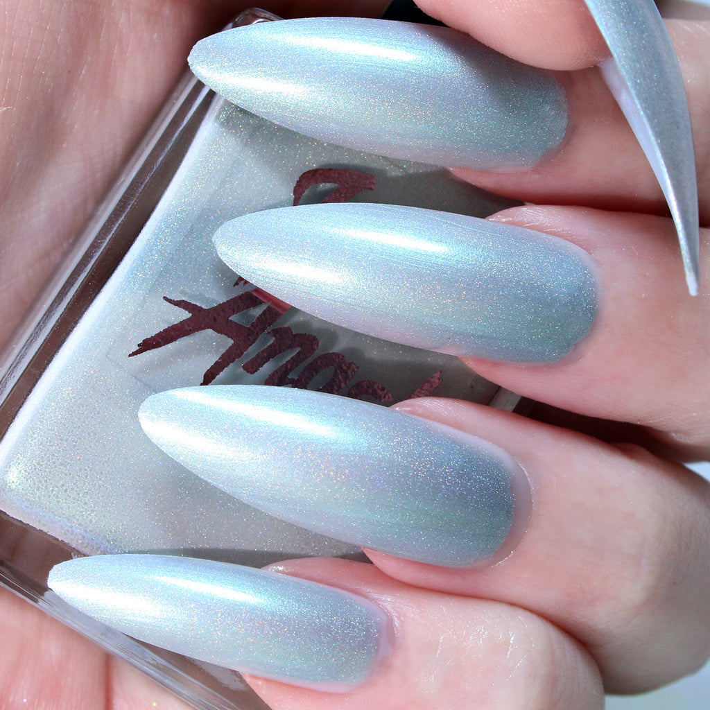 Misty Day - silver with a blue shift shimmer nail polish vegan