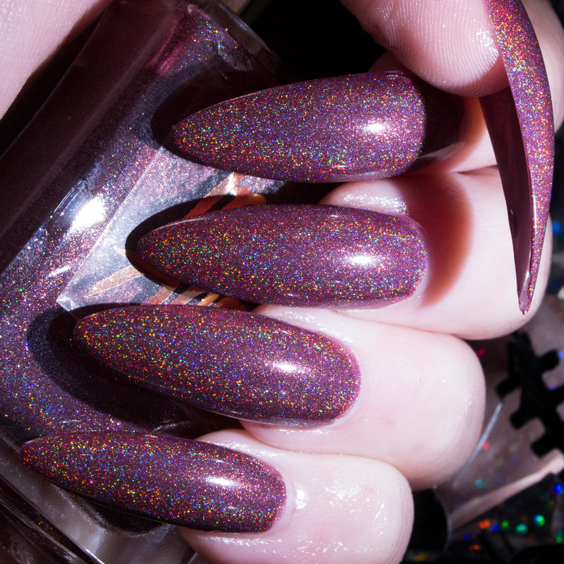 Moody - burgundy purple superholographic nail polish vegan