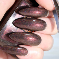 MoonDrunk - deep warm charcoal gray w/ pink shine superholographic nail polish vegan