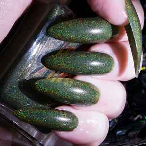 Moss - deep grass green superholographic nail polish vegan