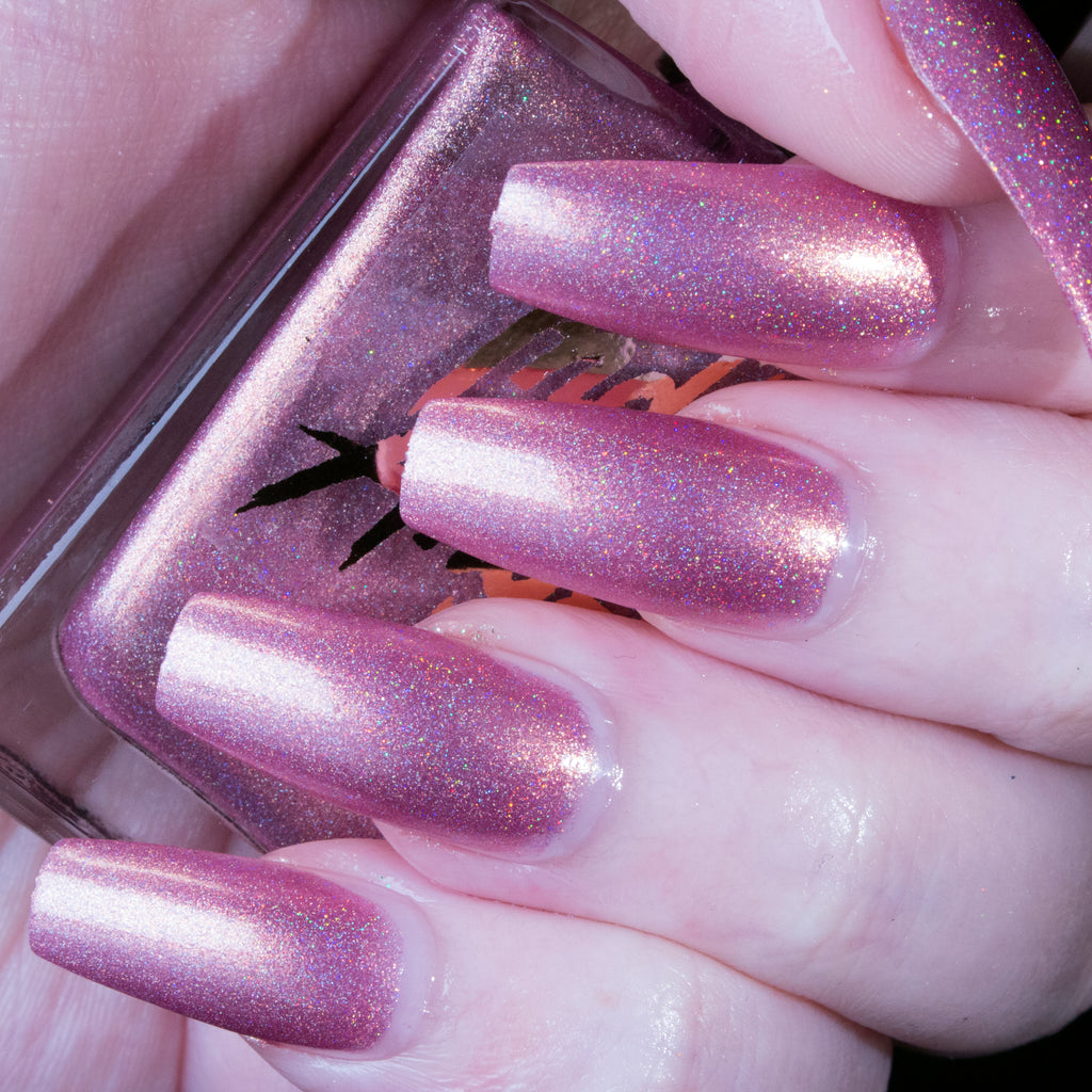 Mrs. Claus - lilac pink with gold flash superholo nail polish vegan