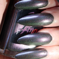 Nightmare - dark gray multichrome super holographic nail polish vegan