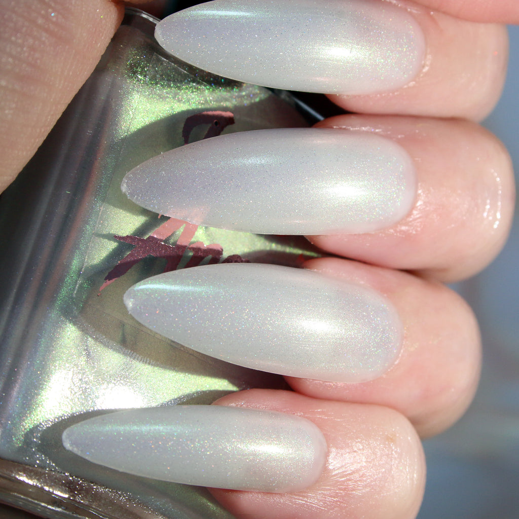 Scream Queen - sheer green holographic topper nail polish vegan