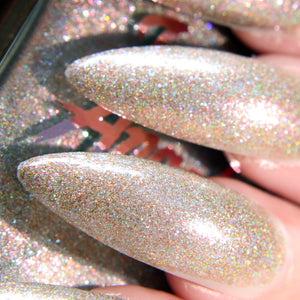 ShowStopper - nude holographic glitter nail polish vegan