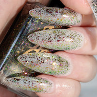 Slacker - duochrome green to pink flakie glitter topper nail polish vegan
