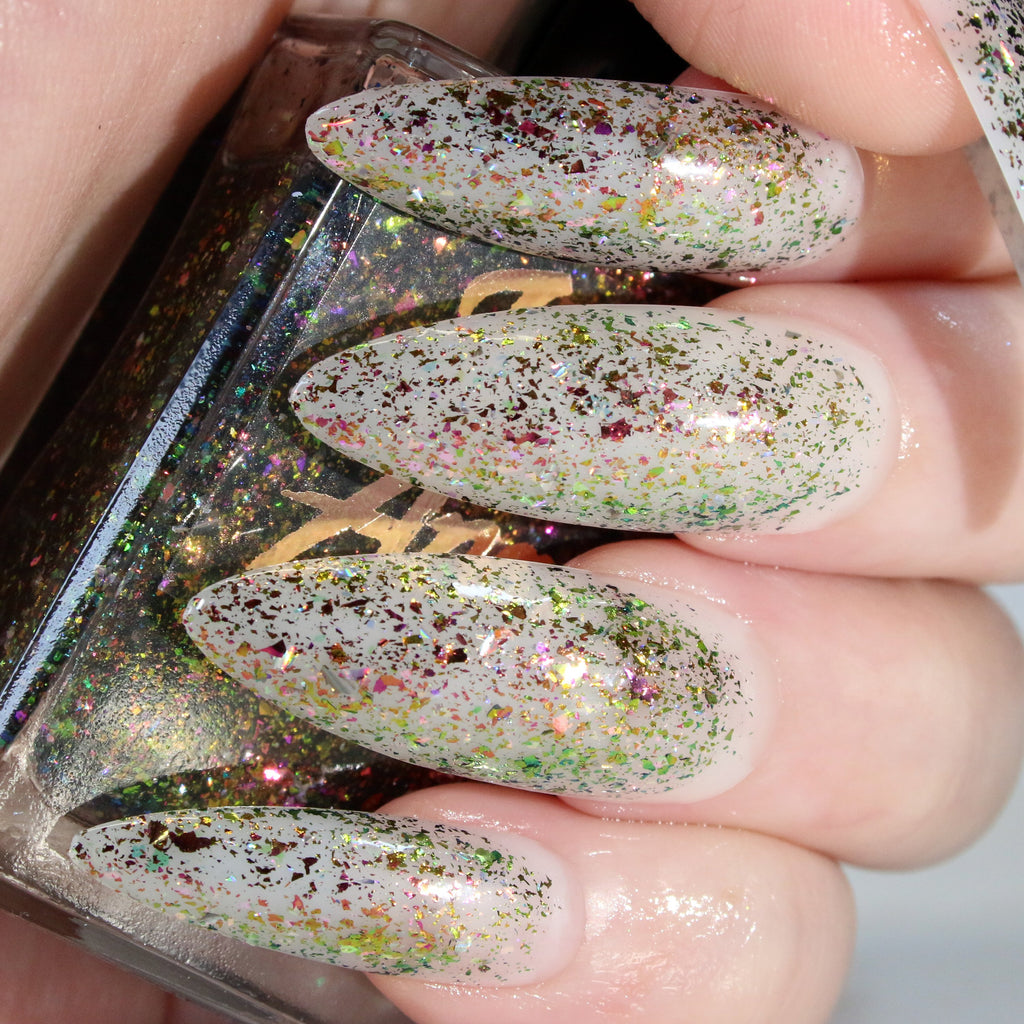 Slacker v2 - pink/green/yellow flakie nail polish vegan